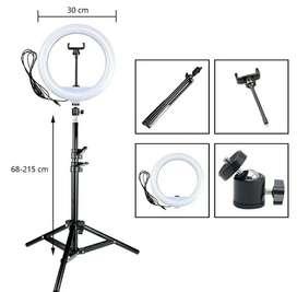 Aro de luz de 30 cm 12in + trípode ajustable 2.15 m