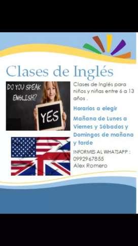 Clases de Inglés para niños, niñas entre 6 a 13 años