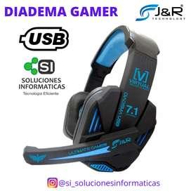 DIADEMA GAMER USB - SONIDO VIRTUAL - 7.1 CANALES - CONEXION USB - ENVIO GRATIS EN CALI