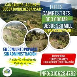 LOTES CAMPESTRES DE 3.000 m2 desde 60 millones