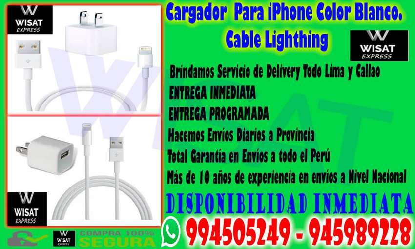 Cargador Para iPhone Color Blanco. Cable Lighthing 0