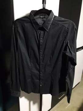 Camisa Manga Larga Negra Talla S