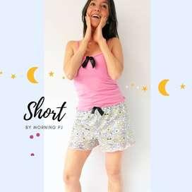 Pijama Corta Dama Algodón Short Y Blusa Básica Multiusos
