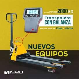 Transpaleta con Balanza, Escala, Carretillas, Paletera, Balanza para Pallets, Balanza