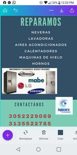 Servicio tecnico en Neveras, lavadoras, aires acondicionados. Entre otros.