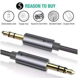 Cable auxiliar de Audio, de doble entrada 3.5mm y 1.2m de largo con Nylon trenzado