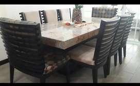 Juego de comedor 8 puestos mesa de mármol
