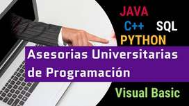 Asesoria, tutoria en el desarrollo de proyectos o trabajos de programación básica o avanzada JAVA C++ BVA PYTHON MATLAB
