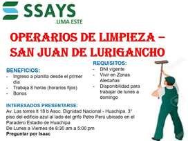 Operario de Limpieza San Juan de Lurigancho