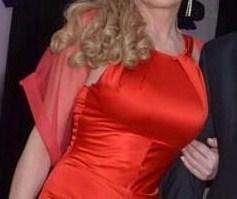 vestido rojo largo de fiesta de Antolin