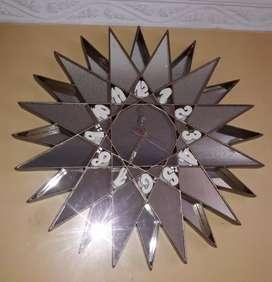 """Reloj con espejos """"Sol""""o madera"""
