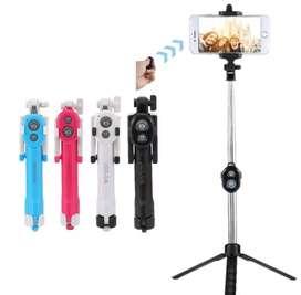 Palo de Selfie Stick Bluetooth + Trípode 2 En 1