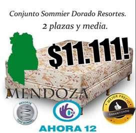 SOMMIER Y COLCHON, RESORTES 2,5 PLAZAS 140 CM X 190 CM! MEJOR PRECIO GARANTIZADO! MENDOZA 261- 4607-416 SM 104