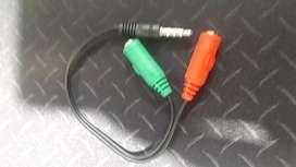 Convertidor de audio 2 a 1para Diademas conector 3.5mm