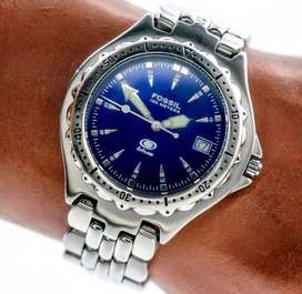Reloj Fossil AM-3592 BLUE Original, Malla de Acero Inoxidable, interior color Azul, nueva pila, traido de USA