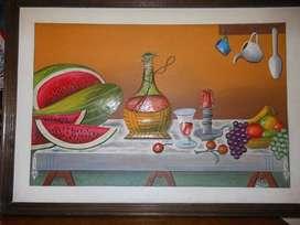 Cuadro pintura al óleo en relieve