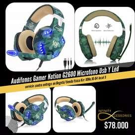 Diadema gamer kotion g2600 verde militar