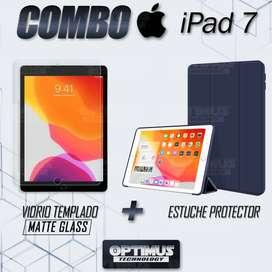 """Combo Vidrio Matte Glass templado Anti Reflejo y Estuche Tablet iPad 7 generación 10.2"""""""