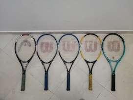 Kit de 5 Raquetas de Tenis Wilson y Head