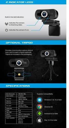 Camara web para pc microfono full hhd video llamafas