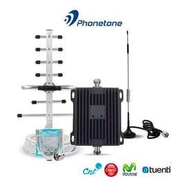 KIT AMPLIFICADOR SEÑAL CELULAR PHONETONE PTE-CP65 DUAL BAND 850/1900MHz 3G/4G 65dB + ANTENA OUT. 9dBI 15m + ANTENA IND.