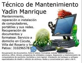 Mantenimiento, reparación e instalación de computadores, portátiles y sus redes. Recuperación de documentos y formatear.