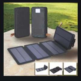 Power Bank 20000mAh 4 paneles solar y linterna super brillante