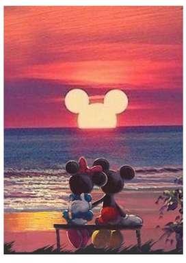 Kit Diamond Painting Atardecer Mickey y Minnie