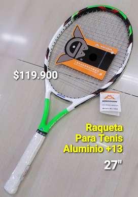 RAQUETA PARA TENIS ADULTO +13 EN ALUMINIO CON ESTUCHE