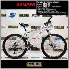 Bicicleta Montañera SAMPER THORN ARO 29 Frenos de Disco Mecánico y Suspensión con bloqueo (GRIS-ROJO)