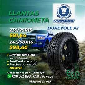LLANTAS PARA CAMIONETA - SUNWIDE 235/75 R15 / 245/70 R16 / 195/55 R15