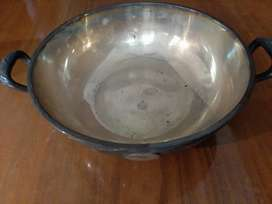 "Tres fuentes de alpaca ""silver plate"" -alemanas antiguas-con dos manijas-excelente estado-redondas-20 cm diámetro"