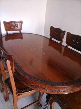 Comedor hindu y juego de mesas para la sala de madera palo de rosa tallado