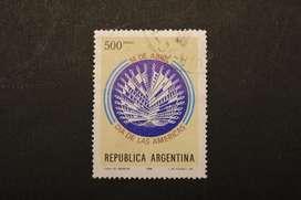ESTAMPILLA ARG. 1980, CONMEMORATIVA DÍA DE LAS AMÉRICAS, USADA