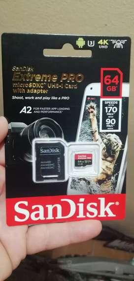 Tarjeta de memoria SanDisk extreme pro 64