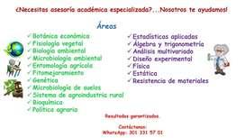 Asesoría académica especializada en áreas ambientales y numéricas