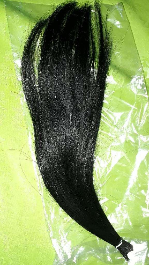 Moña Cabello Natural Negro 30cm 0