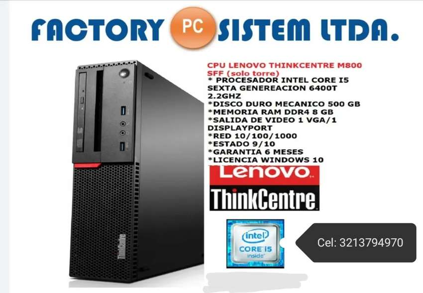 CPU LENOVO THINKCENTRE M800 SFF CORE I5 SEXTA GENERACIÓN USADA EQUIPO CORPORATIVO 0