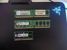 Memorias RAM DDR2 De Escritorio 2gb y DRR3 4gb DE NOTEBOOK