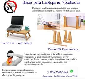 BASE DE MADERA PARA LAPTOP Y NOTEBOOKS