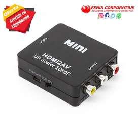 Mini 1080 P HDMI VGA a RCA convertidor adaptador VGA2AV