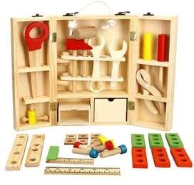 Caja de herramientas para niños didáctica en madera