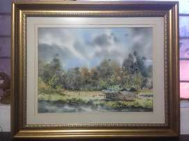vendo 2 acuarelas de paisajes enmarcadas en moldura importada del artista Nariñense Rojas a 450.000 c/u