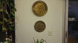 Set exclusivo de Platos de pared en Bronce con bajo relieve floral