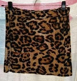 Pollera Animal Print Minifalda S/uso Bien Chic!!!
