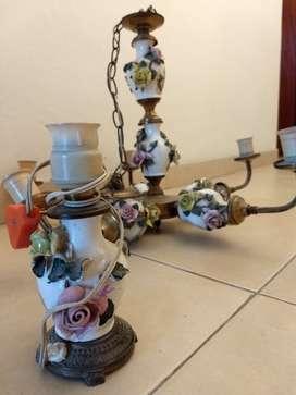 Araña Antigua Iuinacion de Ceramica y Bronce