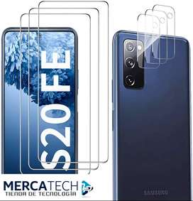 Protector de Pantalla para Samsung Galaxy S20 FE (3 Paquetes) + 2 Paquetes de Protector de Lente de Camara, Mica HD Sam