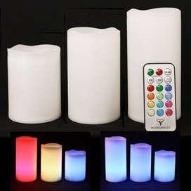 Veladoras LED (Velas sin llama) luz de color y control remoto.