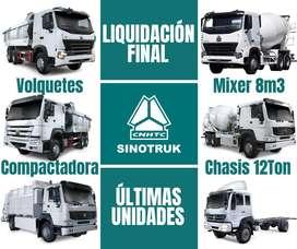 LIQUIDACION TOTAL SINOTRUK HOWO. VOLQUETE GNV. MIXER GNV. MIXER DIESEL. CHASIS 12TON. COMPACTADORA DE BASURA