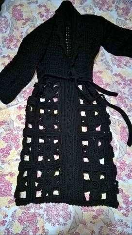 Tapado de lana crochet a estrenar